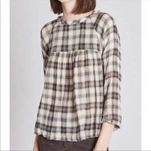 Current Elliott Plaid Shirred Raglan Shirt NWT M
